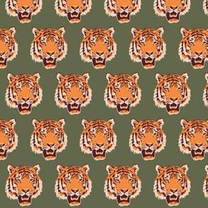 Timothy the Tiger on forest green - 1.5""