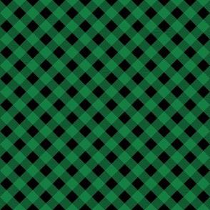 buffalo plaid - green and black, diagonal plaid, bias plaid - half inch squares