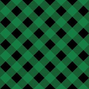 green black plaid diagonal