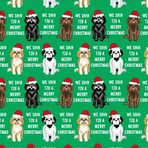 TINY - shih tzu christmas fabric - funny shih tsu fabric, dog fabric, christmas dog fabric - green