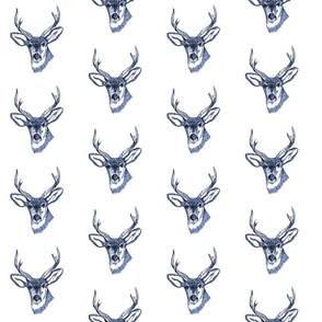Deer Head Buck Navy Blue Sketch
