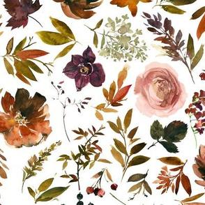 Copper Autumn Florals // White