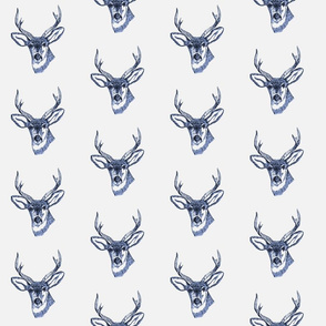 Deer Head Buck Navy Blue Sketch on Light Gray Background