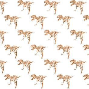 T-Rex Skeleton - Distressed Orange Sketch