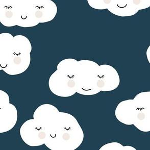 Sweet puffy clouds kawaii sky smiling sleepy cloud in cool navy blue winter