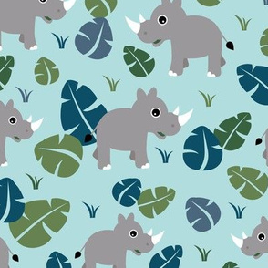 Cute Rhino jungle woodland animals adorable kids illustration pattern gender neutral emerald green blue baby nursery