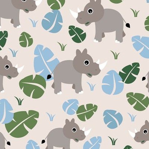 Cute Rhino jungle woodland animals adorable kids illustration pattern gender neutral soft blue green baby nursery