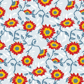 Funky Flowers (Light Blue)