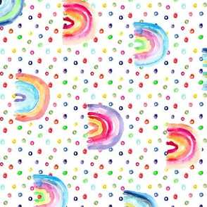 Rainbow watercolor dreams with lots of dots, rotated