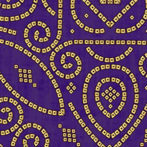 Purple and Gold Bandhani Bandhej