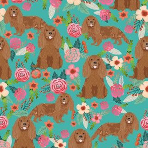 cavalier king charles spaniel fabric - ruby spaniel fabric - turquoise flower