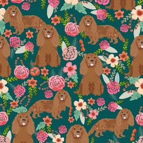 cavalier king charles spaniel fabric - ruby spaniel fabric - dark green flower