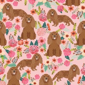 cavalier king charles spaniel fabric - ruby spaniel fabric - pink flower