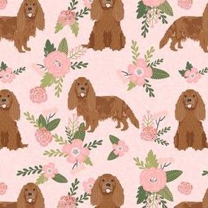cavalier king charles spaniel fabric - ruby spaniel fabric -  peach floral