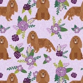 cavalier king charles spaniel fabric - ruby spaniel fabric - lavender floral