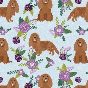 cavalier king charles spaniel fabric - ruby spaniel fabric - purple florals