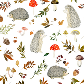 Hedgehogs and Fall Foliage // White