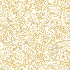 Tropical Leaves Banana Monstera Yellow and White