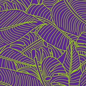 Tropical Leaves Banana Monstera Purple and Green