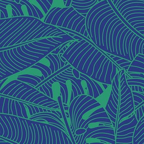 Tropical Leaves Banana Monstera Blue and Green