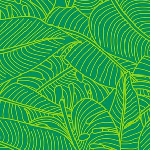 Tropical Leaves Banana Monstera Green and Lime Green