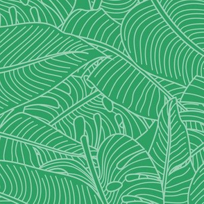 Tropical Leaves Banana Monstera Green and White
