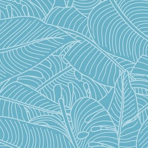 Tropical Leaves Banana Monstera Teal and White