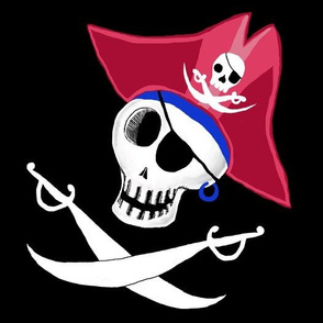 pirate skull, large scale, black and white, red, blue