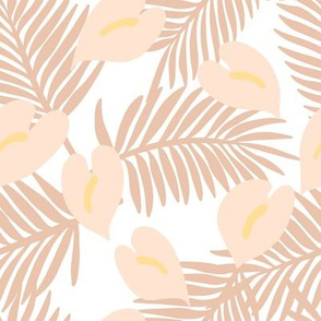 anthuriums and fronds on white