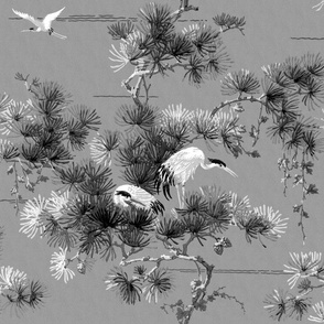 Chinoiserie Cranes ~ Black and White