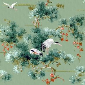 Chinoiserie Cranes ~ Original ~Jumbo
