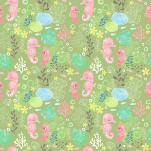 green happy seahorse - medium