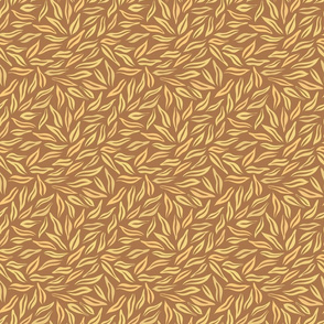 Tiny Abstract Bamboo Leaves in Golden Yellow