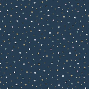 Mystic Universe twinkle moon phase and stars sweet dreams night navy blue gold