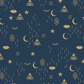 Mystic Universe third eye hipster moon phase and stars sweet dreams night navy blue gold LARGE