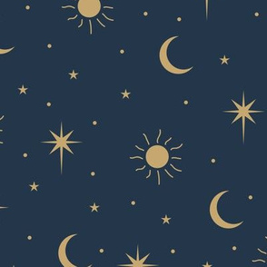 Mystic Universe sun moon phase and stars sweet dreams night navy blue gold LARGE