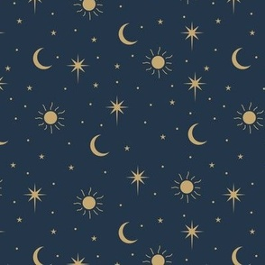 Mystic Universe sun moon phase and stars sweet dreams night navy blue gold
