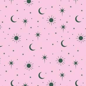 Mystic Universe sun moon phase and stars sweet dreams night pink emerald green girls