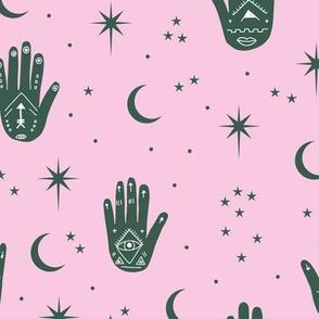 Mystic magic Universe prayer hamsa moon phase and stars sweet dreams night pink emerald green