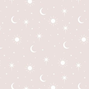 Mystic magic Universe sun moon phase and stars sweet dreams night beige sand white neutral baby