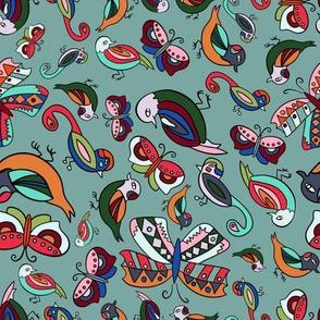Birds and Butterflies-Teal