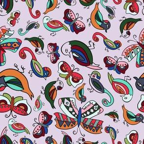 Birds and Butterflies-Lilac