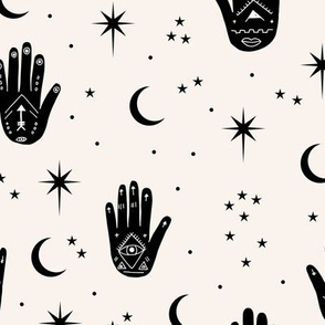 Mystic magic Universe prayer hamsa moon phase and stars sweet dreams night off white black