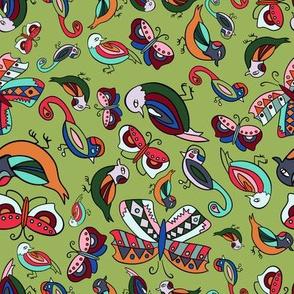 Birds and Butterflies-Lime