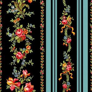 Belvedere Floral Stripe ~ Black ~ Large