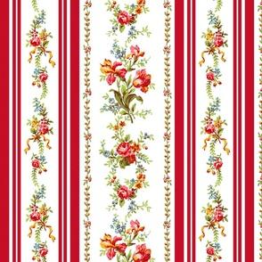 Belvedere Floral Stripe ~ Red Stripe on White
