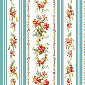Belvedere Floral Stripe ~ White