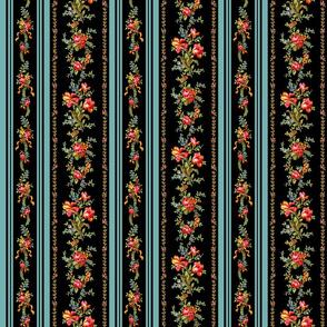 Belvedere Floral Stripe ~ Black ~ Medium