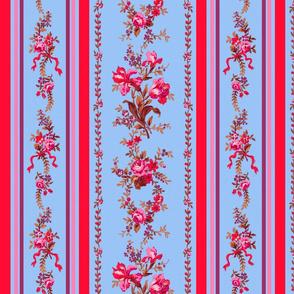 Belvedere Floral Stripe ~ Berries on Jasper Ware