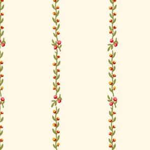 Belvedere Floral Vine Stripe  ~ Cosmic Latte